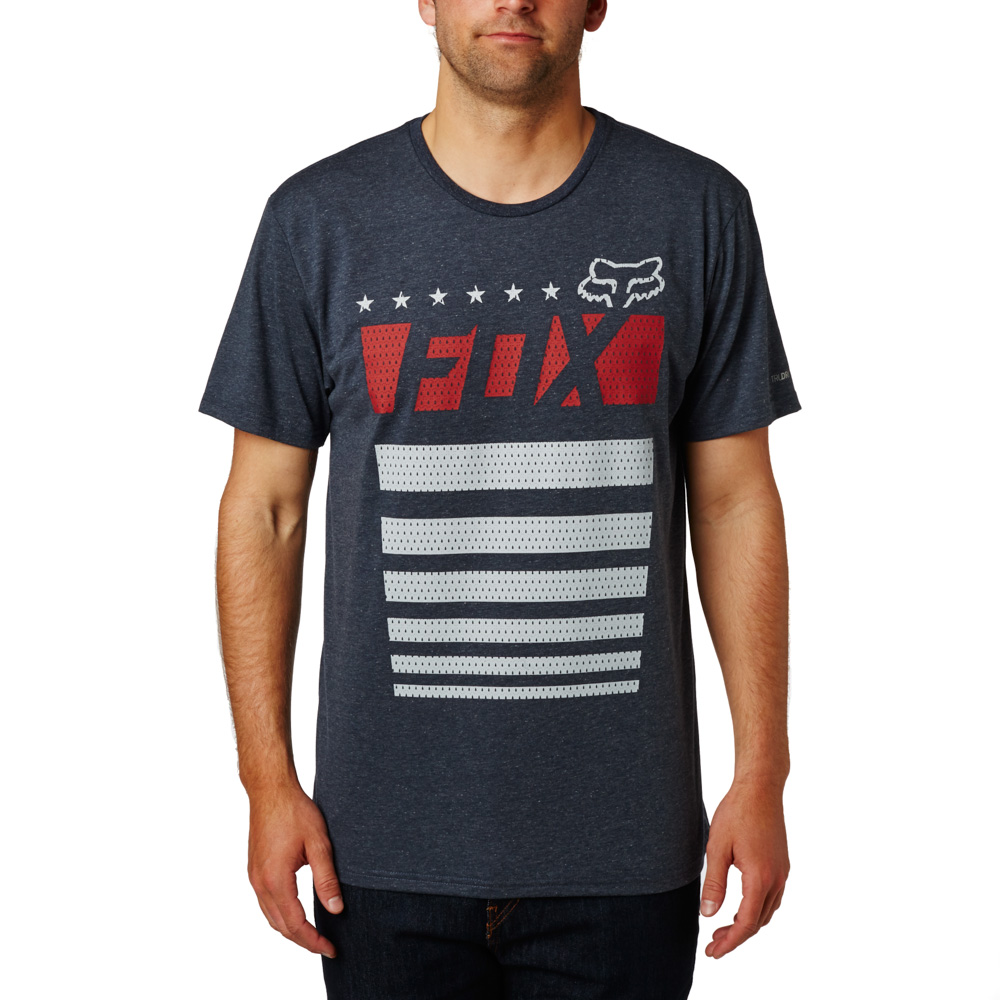 FOX Red, White & True SS Tech Tee póló HTR MDNGHT